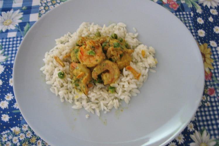Crevettes exotiques aux carottes et petits pois