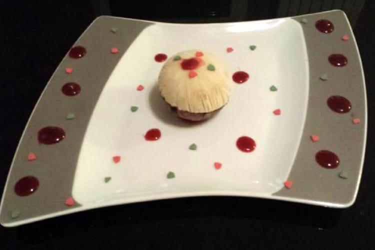 Sphère vanille-chocolat, coeur vanille-menthe