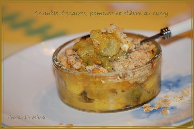 Crumble d'endives, pommes et chèvre au curry
