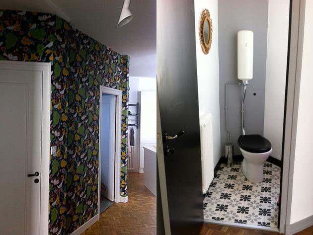Un couloir flower power et des toilettes branchées