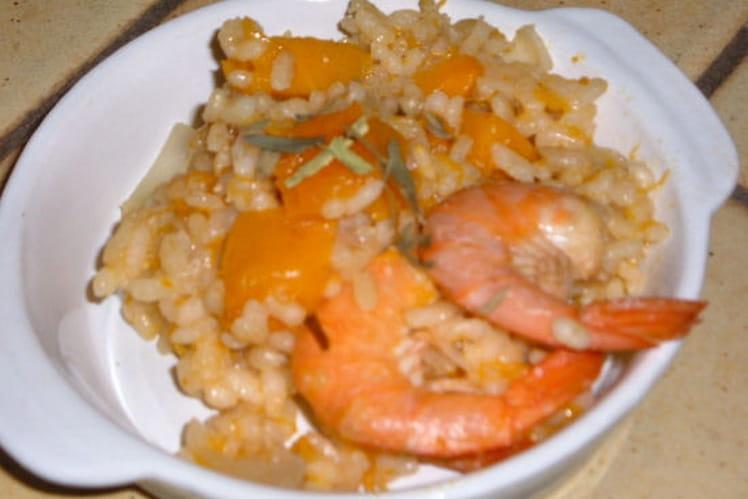 Risotto de potiron aux crevettes