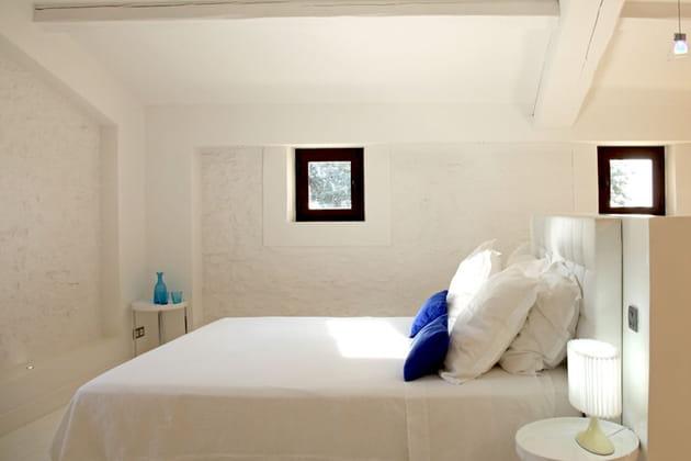 Chambre en blanc et bleu