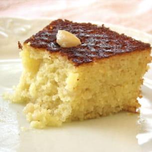 gâteau de semoule au sirop de fleur d'oranger