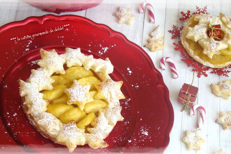 Feuilleté aux pommes en couronne de Noël