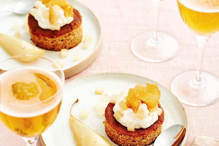 Poire pochée au cidre Poiré et son moelleux à la crème de marrons
