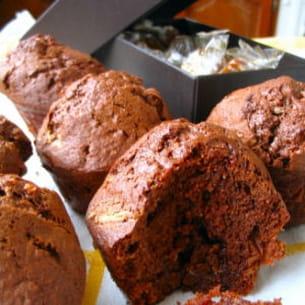 muffins chocolat-praliné au caramel au beurre salé