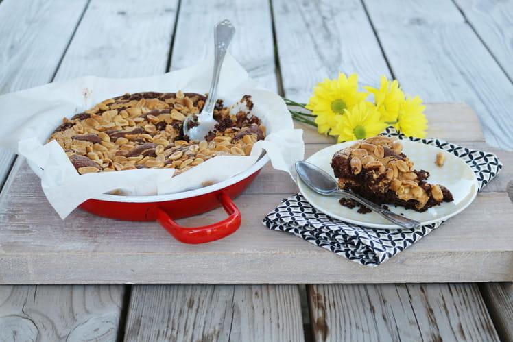 Brownie au chocolat, marbré au beurre de cacahuètes