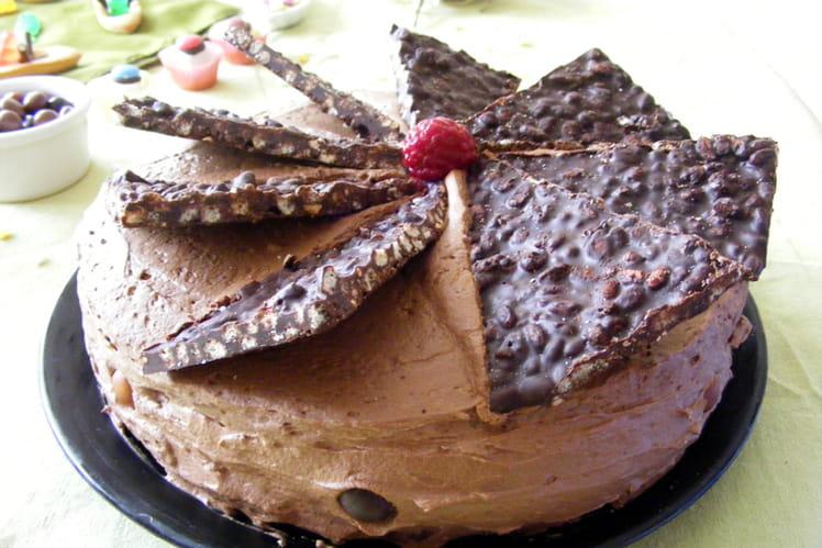 Gâteau chocolat, framboises, mûres et riz soufflé