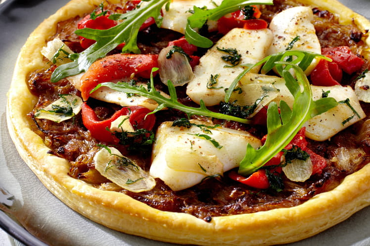 Pizza feuilletée aux endives et encornets