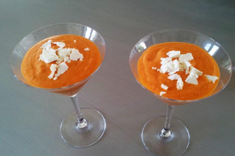 Gaspacho tomate, poivron et feta
