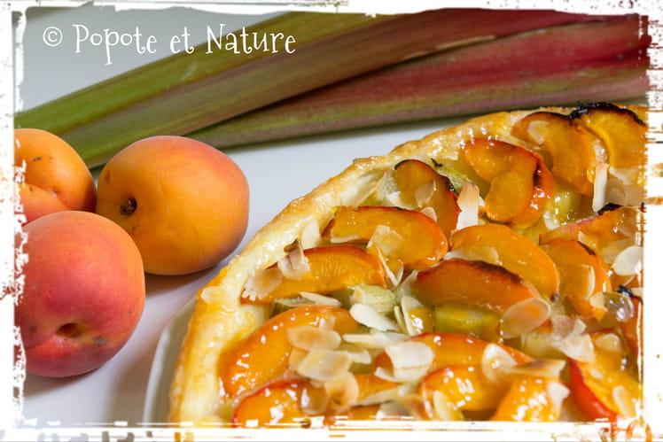 Tarte à la rhubarbe, aux abricots et aux amandes effilées