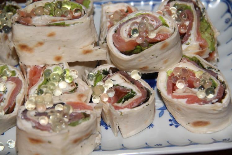 Mini wraps de saumon