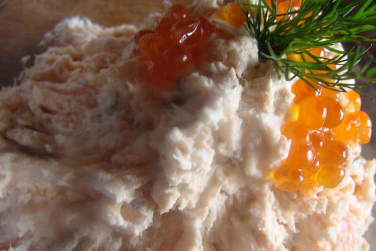 Rillettes aux deux saumons, oeufs de saumon, aneth et citron