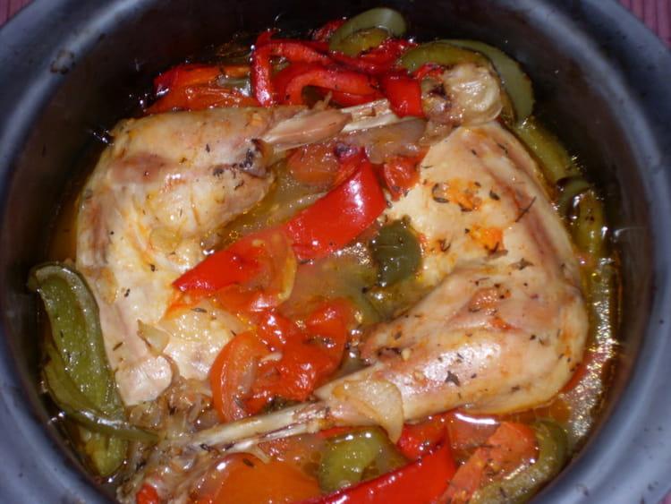 Recette de cuisses de poulet aux poivrons la recette facile - Idee recette cuisse de poulet ...