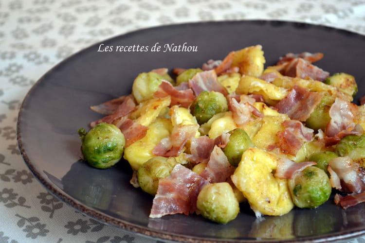 Tortellini et choux de Bruxelles poêlés au lard et parmesan