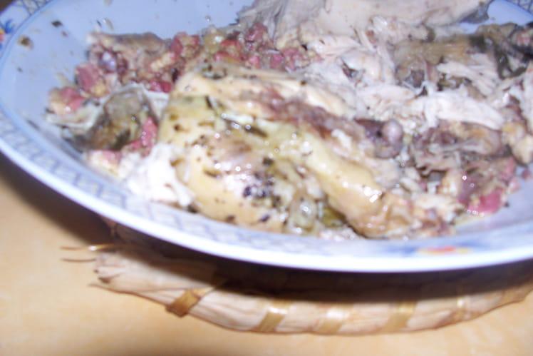 Poulet farci aux foies de volaille et parmesan