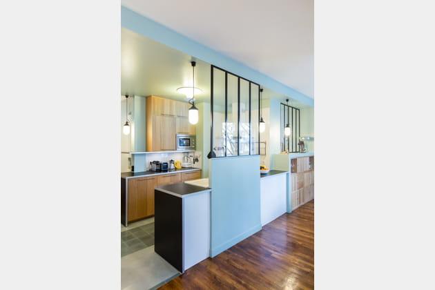 Une cuisine bleu pastel