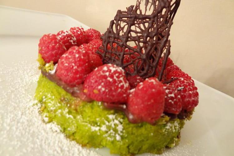 Tentation pistaches - framboises - chocolat