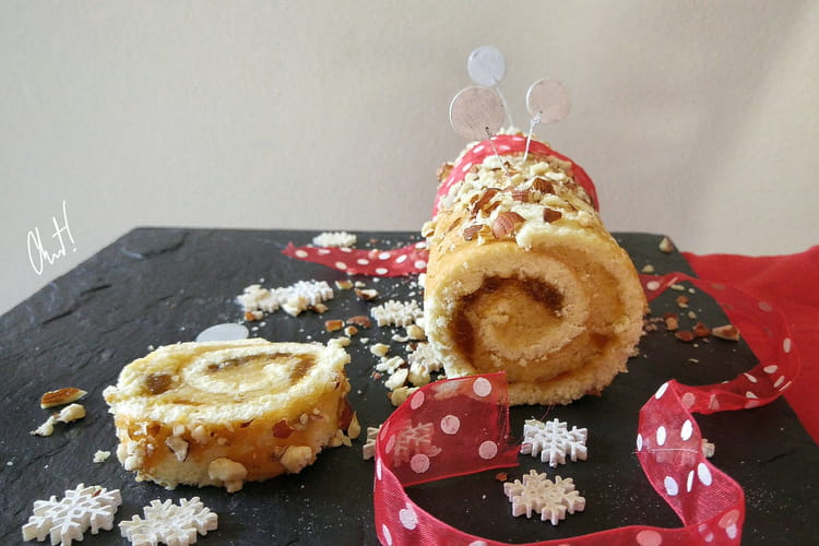Gâteau roulé à la crème d'amande et à la confiture de tangor