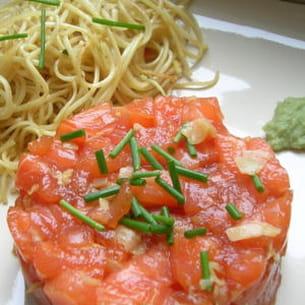 tartare de saumonfaçon sashimi