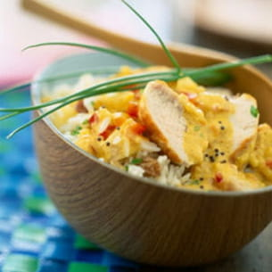 curry de poulet au lait de coco et riz basmati