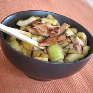wok de concombre au poulet