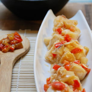 lotte au wok sauce ketchup façon aigre-douce